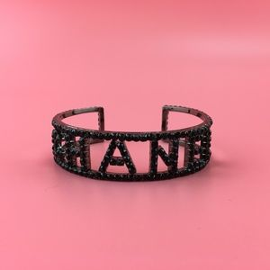 Preowned Chanel Black Crystals Cutout Bangle